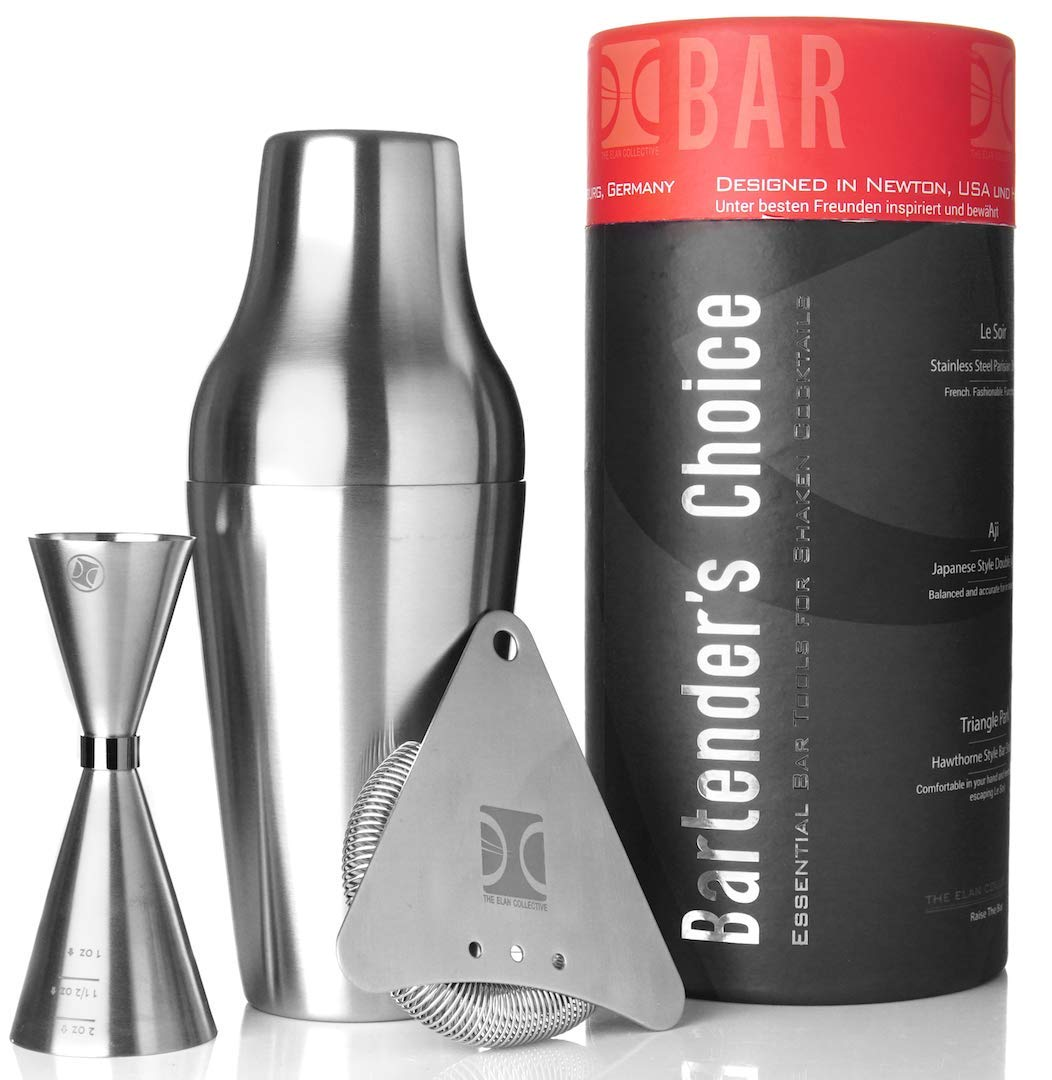 French Cocktail Shaker Set | 22oz. Stainless Steel Parisian Shaker, Hawthorne Strainer and Jigger by The Elan Collective - Bartender's Choice (4 piece)