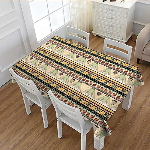 Davishouse Egyptian Washable Tablecloth Colorful Abstract Borders Traditional Old Cairo Culture Indigenous Motifs Symbols Waterproof Tablecloths Multicolor 52