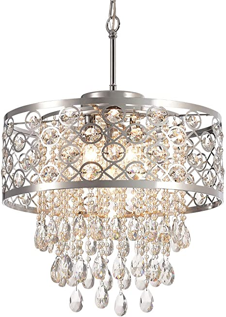 Modern Crystal Chandeliers With 5 Lights Pendant Light With Crystal Drops Ceiling Light Fixture For Dining Room Bedroom Living Room Chrome Amazon Com