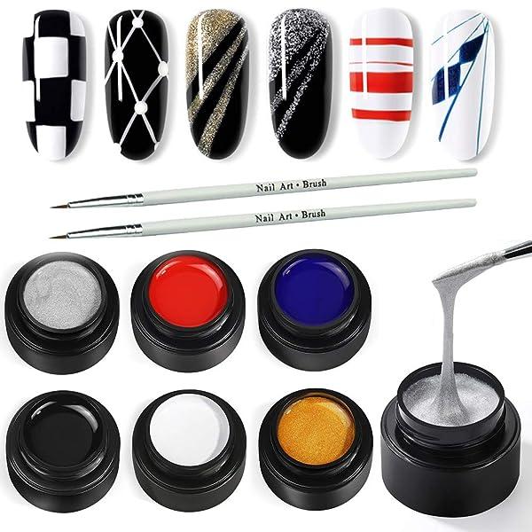 COSCELIA 6 Colors Drawing Gel Nail Polish Painting Brush Soak off Nail Art Gel Paint Drawing Line (Color: 2031)