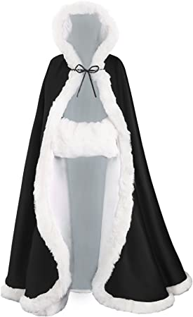 Hooded Cloak Full Length Wedding Cape for Bride /& Women Fur Trim with Hand Muff