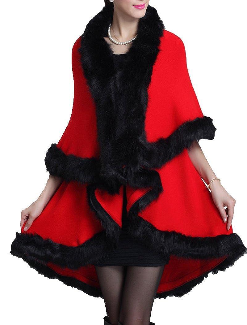 Helan Women's Faux Fox Fur Double Layers Shawl Cloak Cape Coat FURCOAT14092935-BE