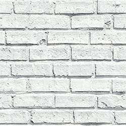 Arthouse, White Painted Brick Extremely Realistic Wallpaper, Modern Home Décor
