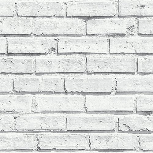 Arthouse, White Painted Brick Extremely Realistic Wallpaper, Modern Home Décor by Arthouse