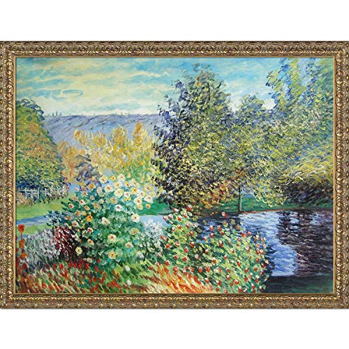 overstockArt Corner of The Garden at Montgeron with Golden Oak Leaf Frame Oil Painting by -