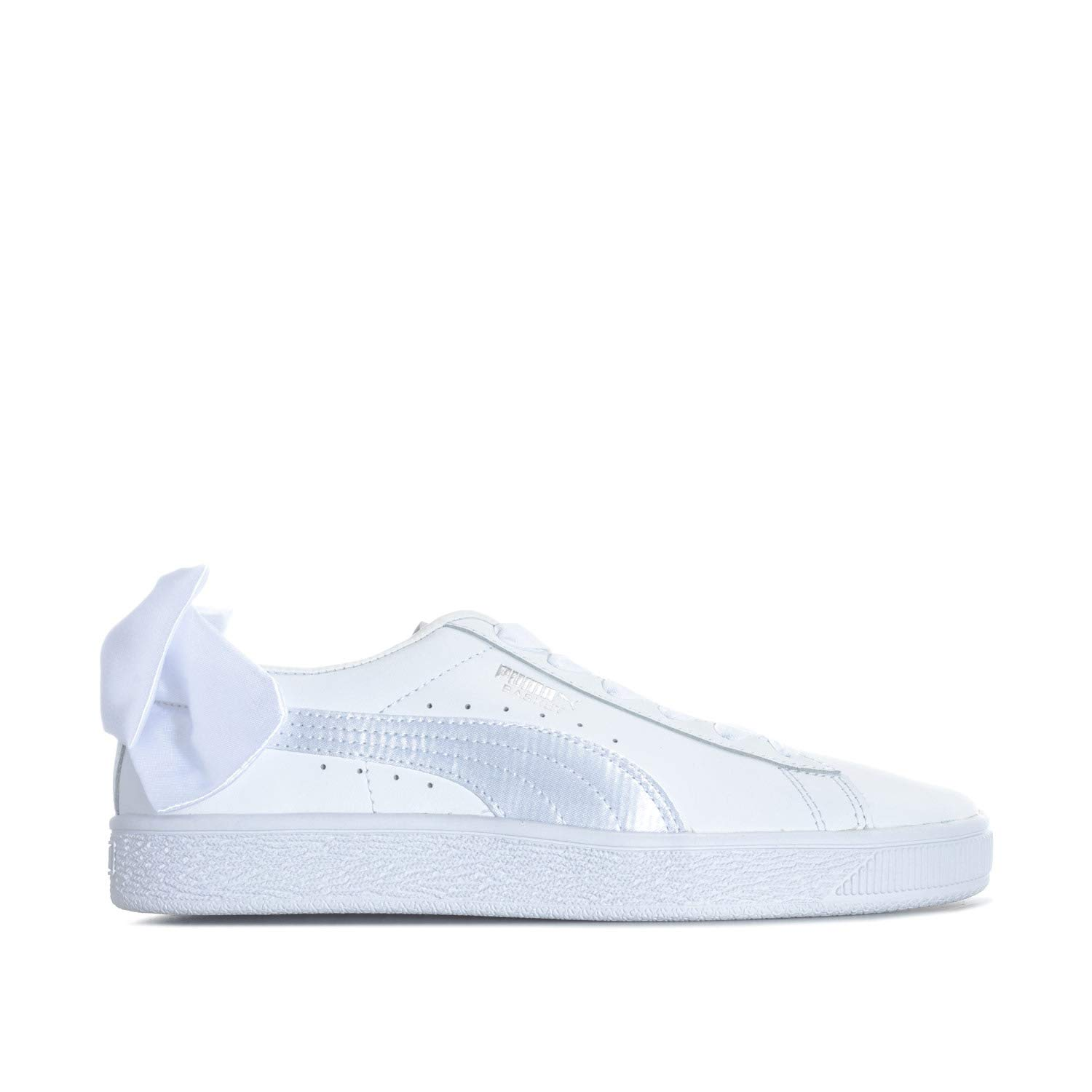 Puma Junior Girls Basket Bow Trainers in White- Elasticated Ribbon Laces-  Bow  Amazon.co.uk  Shoes   Bags b06e24789