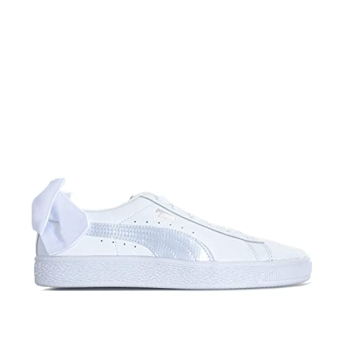 sports shoes 900c7 94869 Puma Junior Girls Basket Bow Trainers in White- Elasticated Ribbon Laces-  Bow