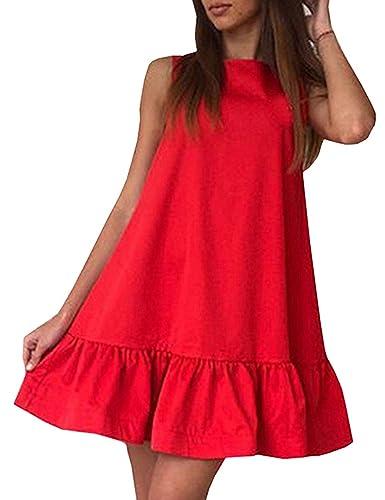 Minetom Donna Estate Abito Senza Maniche Tunica Dress Casuale Maglietta Allentata Vestito Mini Sundress A-line Vestiti