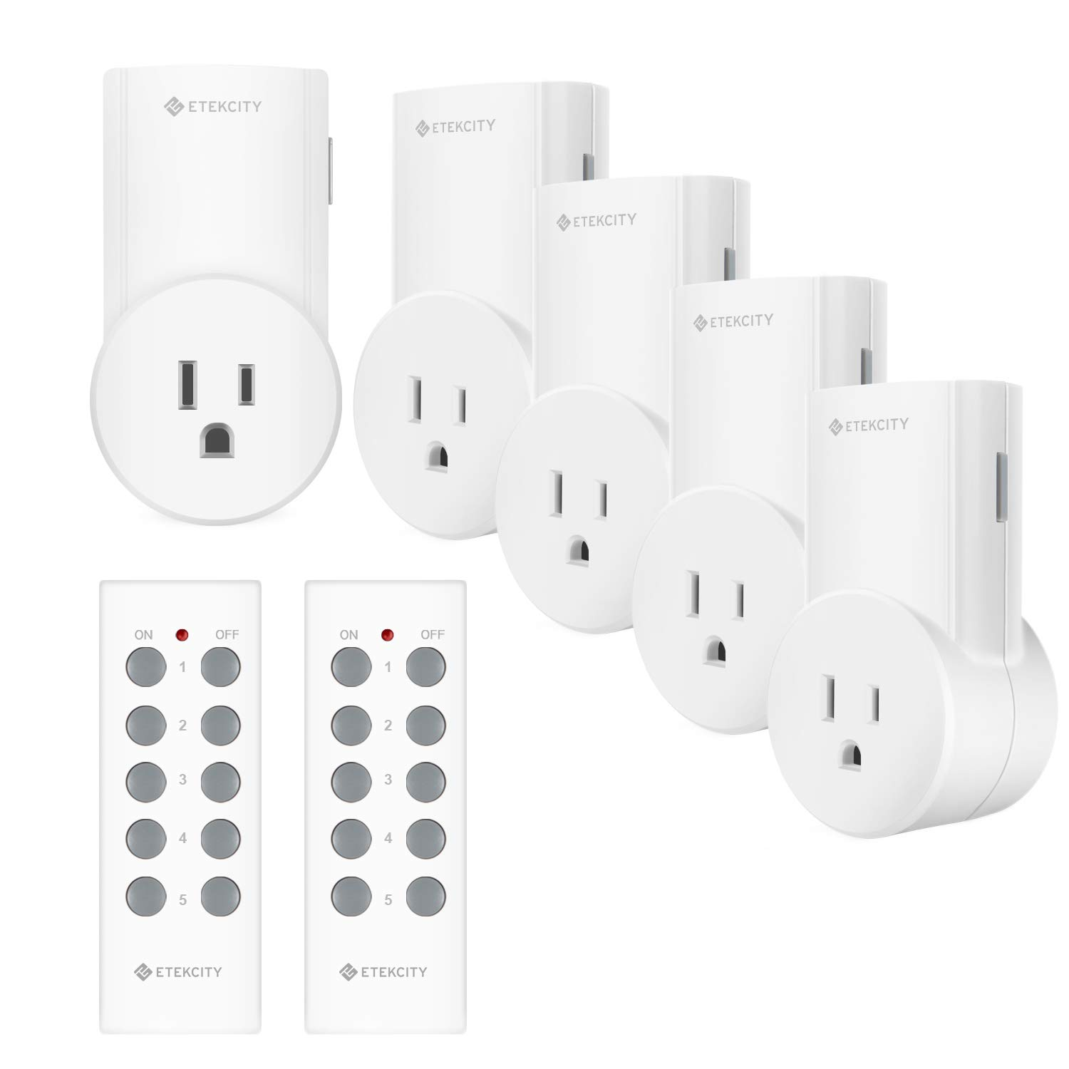 Etekcity Wireless Remote Control Outlet Light Switch for Lights, Lamps, Christmas Decorations, Plug and Go, Up to 100 ft. Range, FCC, ETL Listed, White (Learning Code, 5Rx-2Tx) by Etekcity
