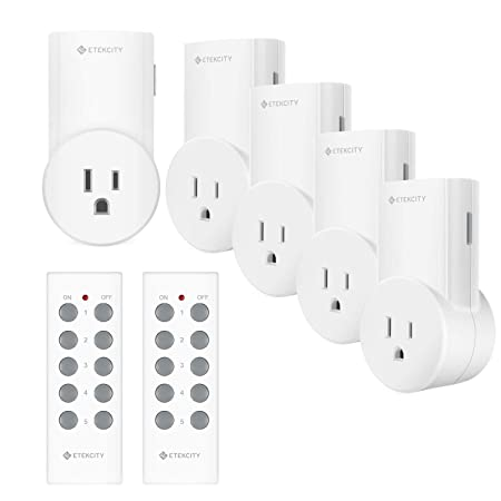 Etekcity Remote Control Outlet Kit Wireless Light Switch for Household Appliances, Unlimited Connections, Up to 100 ft. Range, FCC Certified, ETL Listed, White Learning Code, 5Rx-2Tx