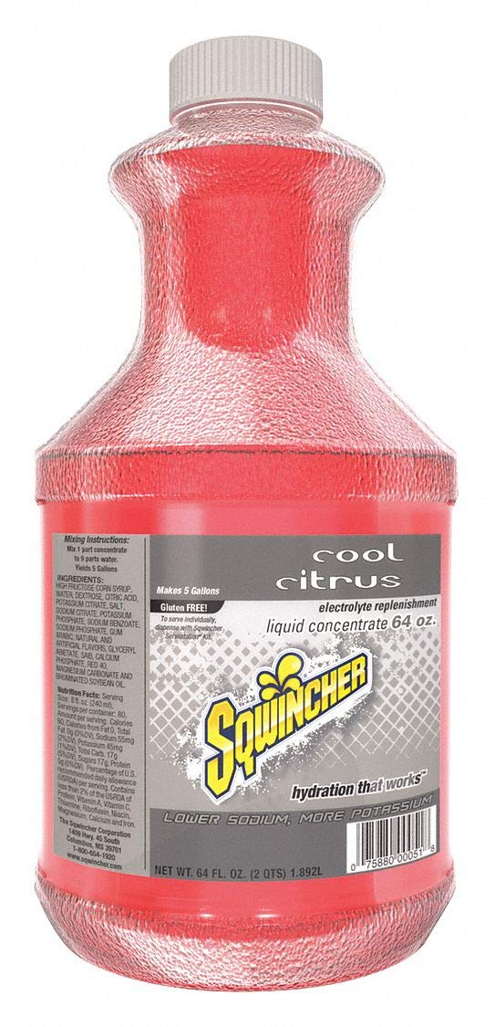 Sqwincher Liquid Concentrate Electrolyte Replacement, 5 Gallon Yield, Cool Citrus 030330-CC (Case of 6) by Sqwincher