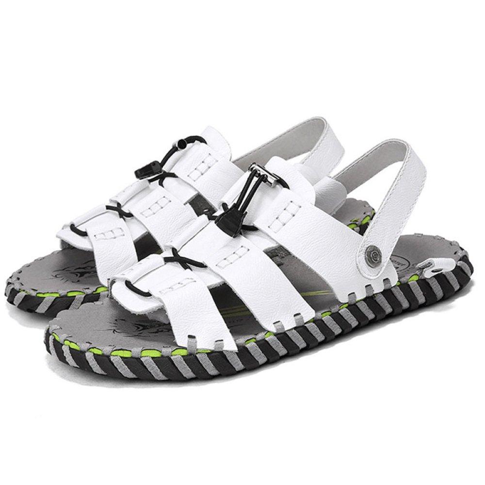 Hombres Piscina Sandalias Playa Peep Toe Verano Natación Zapatillas Antideslizantes De Cuero Transpirable Casual Inicio Zapatos De Baño 41 White