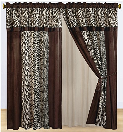 Dovedote Kenya Zebra Leopard Animal Print Faux Silk Safari Curtain Set, 2 Panels 2 Tassels