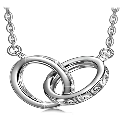 J. RENEÉ Double Ring Necklace Silver 925 Pendant Necklace for Women with  White Crystals from c0d55b96e8
