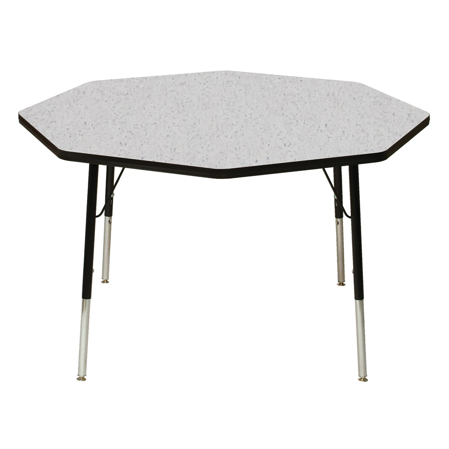 60'' x 30'' Trapezoidal Classroom Table Table Size: Toddler 16''-24'' Ball Glide, Top Color: Gray Nebula, Side Finish: Black