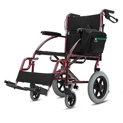 ZZHF Silla de Ruedas Plegable Senior Silla de Ruedas de Aluminio Gruesa Portátil para Discapacitados 90