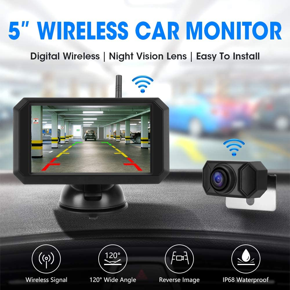 installazione facile monitor TFT-LCD da 5 con segnale stabile telecamera di backup impermeabile per visione notturna super HD 720P Jansite HD 720P Kit telecamera di retromarcia wireless digitale