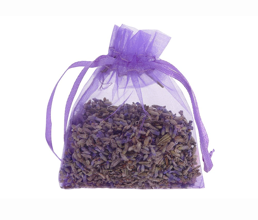 10 pcs Lavender Dry Flower 5g Organza Satchel Bags - Cozy Pouch Sachets Filled with Dried Lavender Buds - Natural Scent Fragrance for Aromatherapy-Car-Closet-Drawers-Moths-Wardrobe The Ambient Collection AC01001