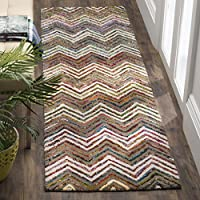 Safavieh Nantucket Collection NAN601B Handmade Abstract Chevron Beige and Grey Cotton Runner Rug (23 x 6)