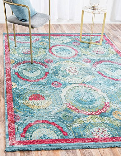 Unique Loom Baracoa Collection Bright Tones Vintage Traditional Turquoise Area Rug (4' x 6') - Green Gold Area Rug