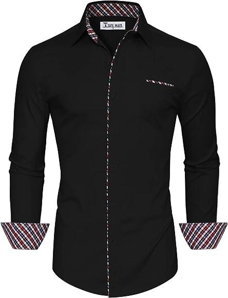 ef14113e TAM WARE Mens Fashion Casual Inner Plaid Long Sleeve Button Down Shirt  TWNMS310A-310B-
