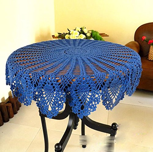 (USTIDE 31.5-inch Navy Blue Round Crochet Lace Tablecloth Sunflower Pattern Table Cover)
