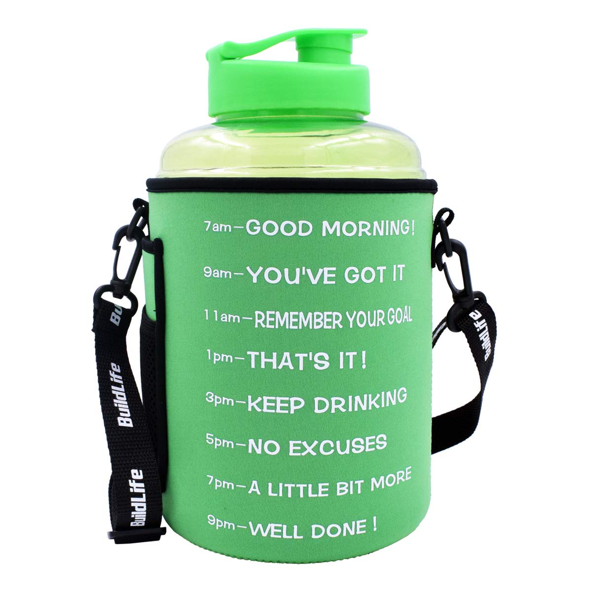 BuildLife 1 Gallon(128OZ) Sports Water Bottle Inspirational Fitness Workout Wide Mouth with Time Marker and Sleeve for Measuring Your H2O Intake BPA Free (1 Gallon, 1 Gallon-Green with Sleeve)