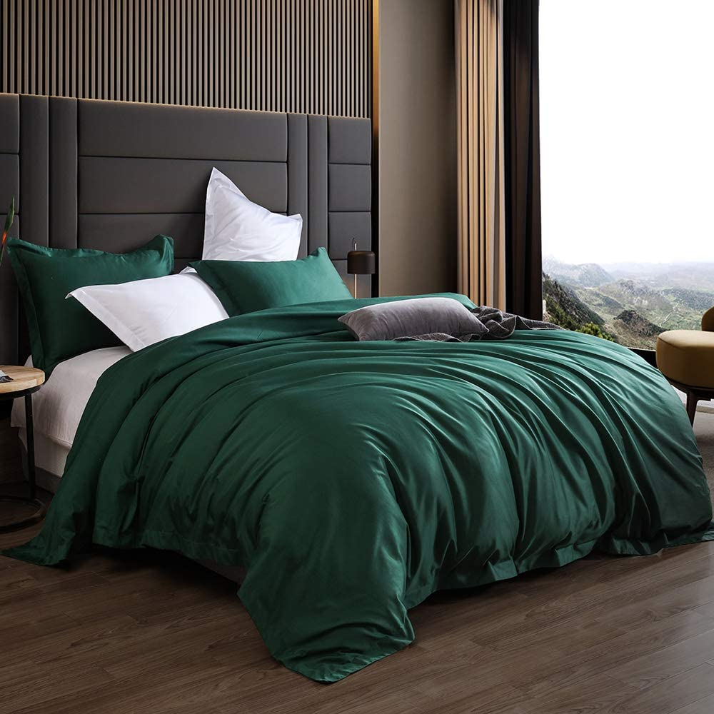 AIKOFUL Luxury 3-Piece Comforter Set-1200 Thread Count 100% Egyptian Cotton Duvet Cover Set with Button Closure & Corner Ties-1 Duvet Cover 2 Pillow Sham(Queen,Emerald Green)
