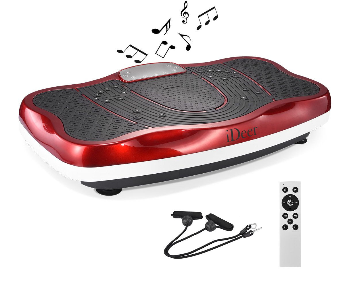 iDeer Vibration Platform Fitness Vibration Plates,Whole Body Vibration Exercise Machine w/Remote Control &Bands,Anti-Slip Fit Massage Workout Vibration Trainer Max User Weight 330lbs (Red09006)