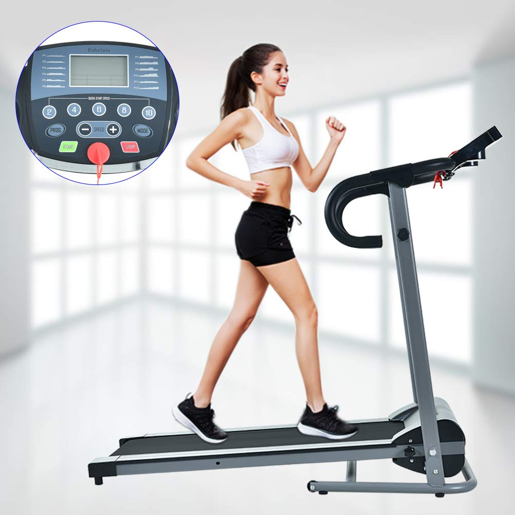 YiiYYaa 1100W Folding Treadmill Electric Walking Running Exercise Fitness Jogging Machine with LCD Display Easy Control Home Gym