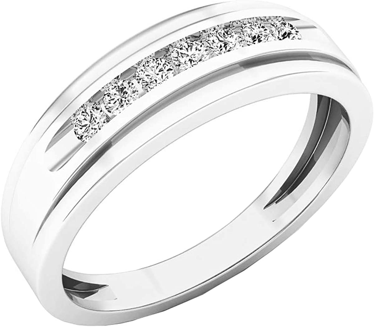 Dazzlingrock Collection 0.25 Carat (ctw) 10K Gold Round White Diamond Mens Wedding Anniversary Band Ring 1/4 CT