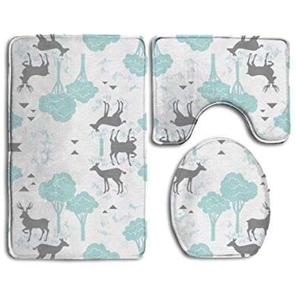 BABY DEER TREES Toilet Cover Rug Set 3 Piece Bath Mats Set Bathroom Rugs /Contour