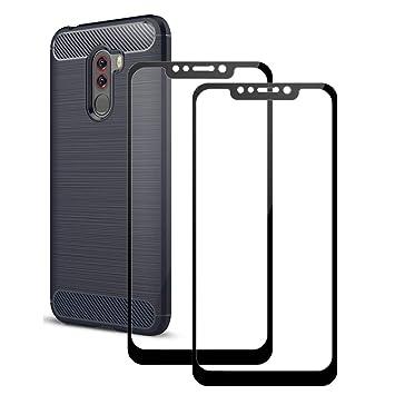 LAGUI Xiaomi Pocophone F1 Protector de Pantalla y Funda, Cobertura Completa Cristal Templado Película, y Carcasa Elegante de Flexible TPU, 1 Funda ...