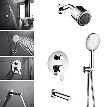Wall Mount Shower Hand Shower Faucet.Oleah Shower Combo Set With Tub Spout Faucet Wall Mounted Shower System Rain Shower Head Handheld Shower Head Solid Brass Single Handle Shower