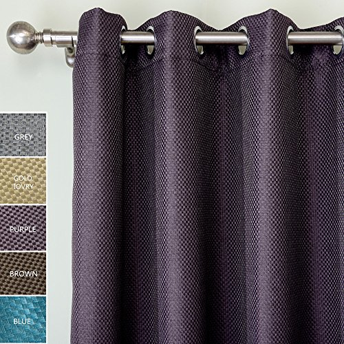 ChadMade Heavyweight Polyester Faux Linen Waffle Basket Weave Blackout Insulated Thermal Curtain Panel Drape Nickel Grommet Purple 72W x 84L Inch (1 Panel), HELMUT