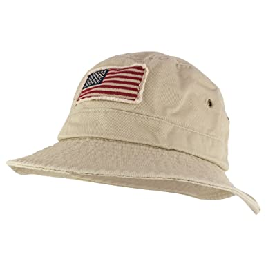 a642c806e29f32 Frayed USA Flag Washed Style Twill Cotton Bucket Hat at Amazon Men's  Clothing store: