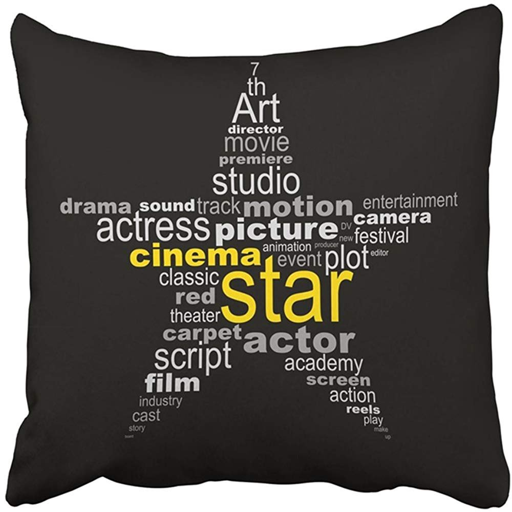 Throw Pillow Cover Polyester 18X18 Inches Red Movie Cinema Star Concept Hollywood Sign Film Storyboard Editor Director Thriller Decorative Cushion Pillow Case Square Two Sides Print For Home