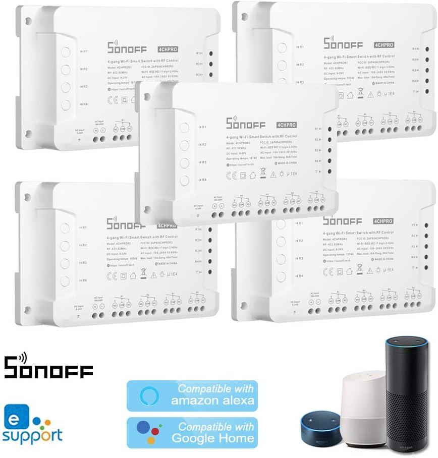 Temporizaci/ón Control Remoto de App 3 Modos de Trabajo OWSOO 1PCS Interruptor WiFi SONOFF 4CH R3//Pro R3 ITEAD RF 433MHz 4 Gang Compatible con  Alexa y Google Home//Nest Smart Home