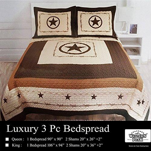 Western Peak 3 Piece Western Texas Lone Star Cabin Lodge Barb Wire Luxury Quilt Bedspread Coverlet Comforter Brown Beige Set ()