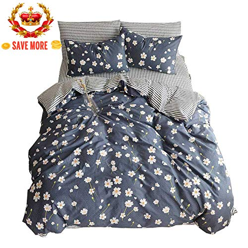 Egyptian Cotton Stripes Comforter - BuLuTu Vintage Floral 3 Pieces Girls Duvet Cover Set Twin Cotton-Super Soft Hotel Stripe Kids Bedding Collections Navy Blue,Comfortable Luxurious Chic Comforter Cover Twin Egyptian Cotton,NO COMFORTER