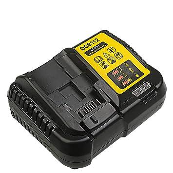 DCB112 Cargador de batería de iones de litio de 12 V y 18 V para Dewalt DCB101 DCB105 DCB115 - Uso para DCB120 DCB127 DCB206 DCB205 DCB201
