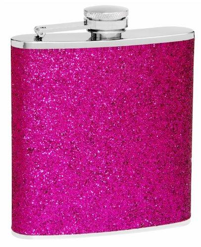 (Top Shelf Flasks Premium Flask with Sparkly Glitter, Very Pretty, 6 oz, Purple)