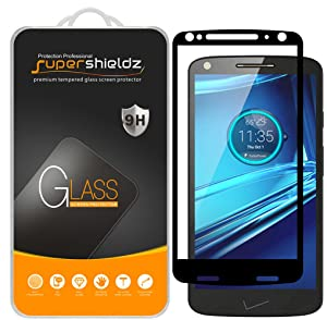 [2-Pack] Supershieldz for Motorola (Droid Turbo 2) Tempered Glass Screen Protector, [Full Screen Coverage] Anti-Scratch, Bubble Free, Lifetime Replacement (Black)