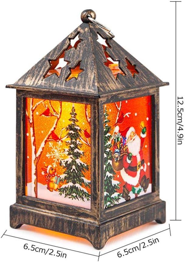 MOGOI Weihnachtsmann Laterne Dekoration Lampe batteriebetrieben flammenlose LED Verandskerze f/ür Weihnachten Party Dekoration Elk