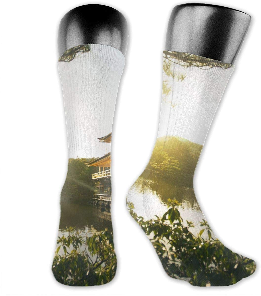 OLGCZM Pavilion Landscape Painting Men Womens Thin High Ankle Casual Socks Fit Outdoor Hiking Trail