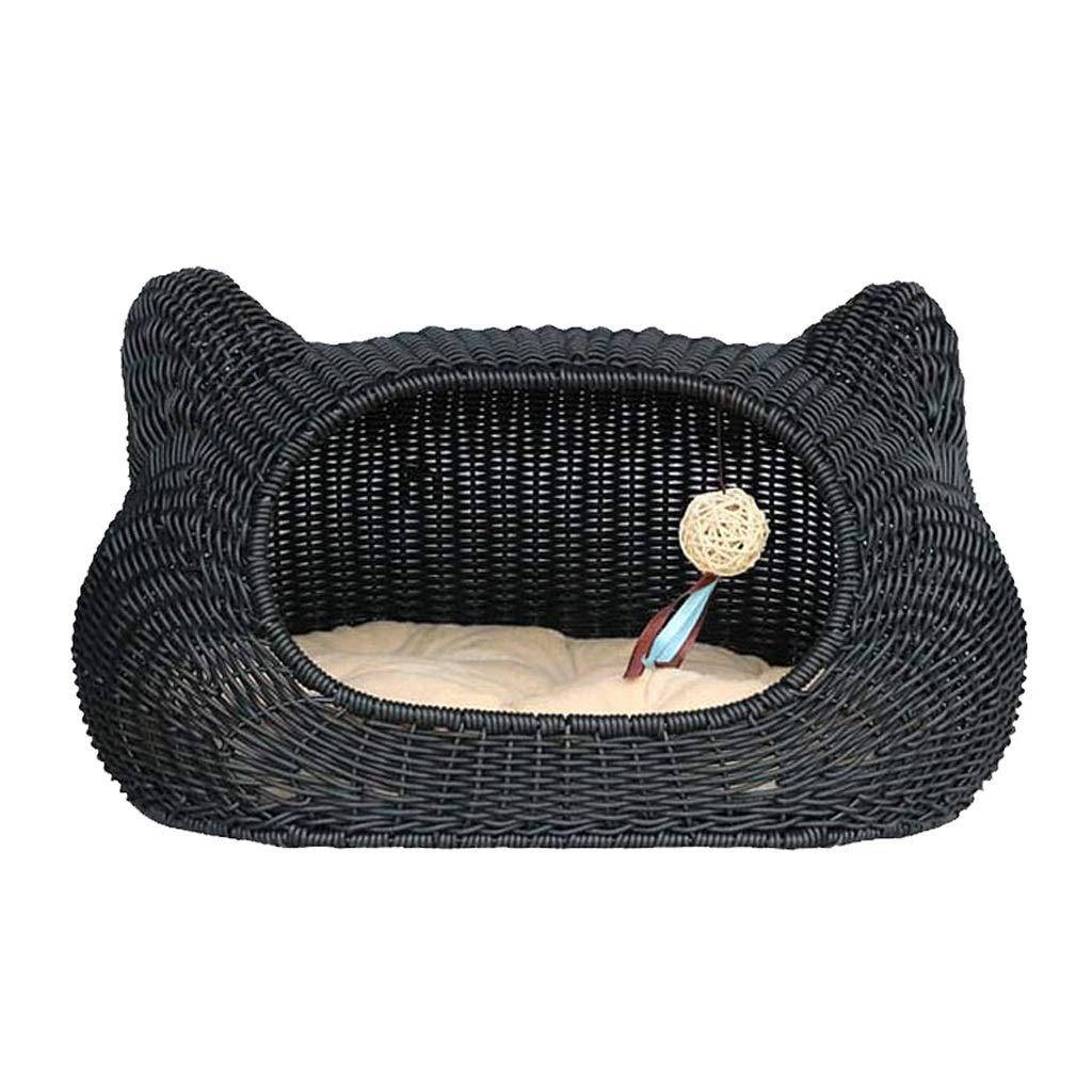 Beige S Beige S JIANXIN Pet Nest, Rattan Cat Nest, Kennel, Suitable for Cats, Four Seasons Universal (Two colors) (color   Beige, Size   S)