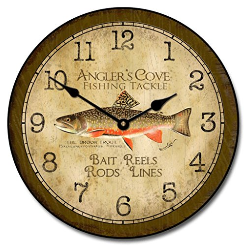 The Big Clock Store Fishing Wall Clock, Available in 8 sizes, Most Sizes Ship 2-3 days, Whisper Quiet. For Sale