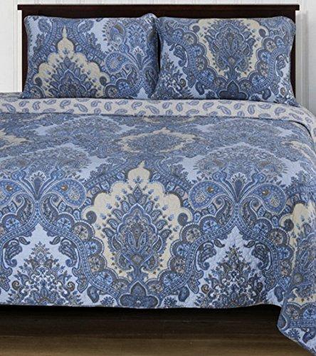Modern Domain Medallion Paisley Cotton Print Blue Bedding Quilt Set Twin Size