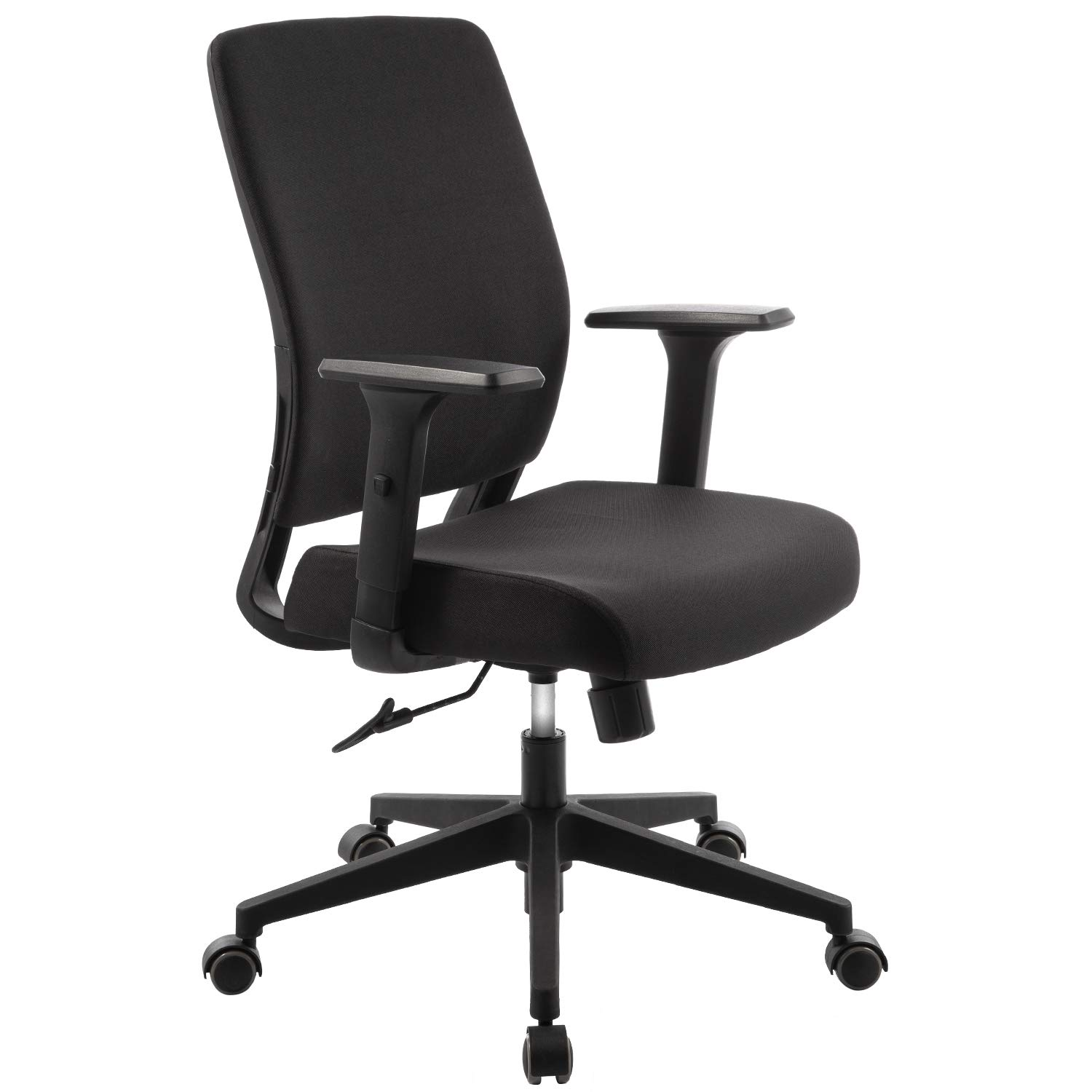 TOPSKY Mid-Back Ergonomic Fabric Office Chair with Adjustable Arm and  Lumbar Support (Black Fabric)