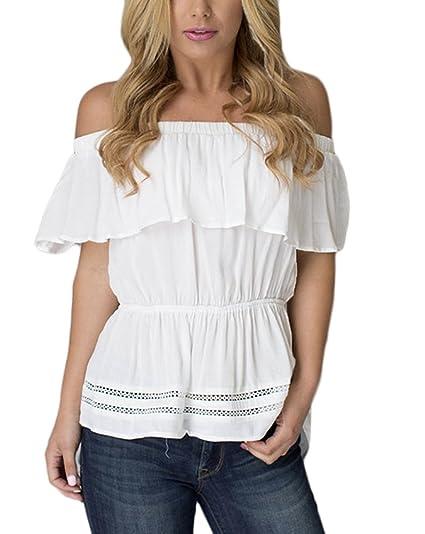 Mujer Camisas Elegantes Verano Barco Cuello Sin Tirantes Espalda Descubierta Blusa De Carmen Shirt Tops Blanco Hollow Moda Joven Irregular Blusa Shirts: ...
